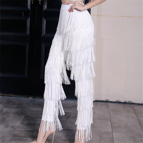 Fashion High-Waisted Fringe Straight Pants - Chicsit