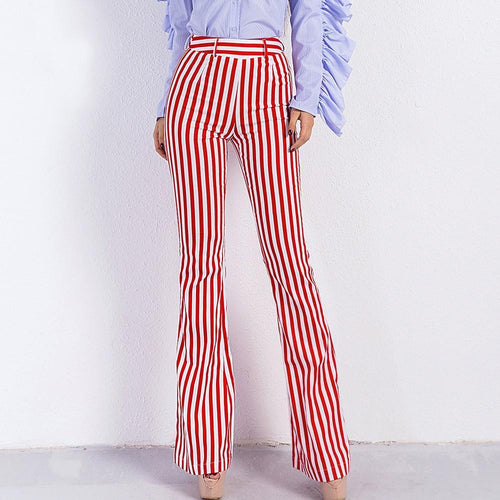 Vertical Stripe High-Waisted Micro Bell-Bottoms Pant