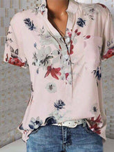 Load image into Gallery viewer, Stand Collar Short Sleeve Flower Print Loose Shirt