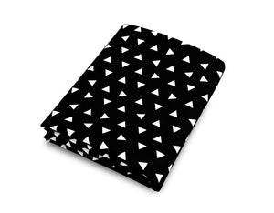 Triangle Fitted Crib Sheet Black and White Cotton Percale - Modern Crib Bedding