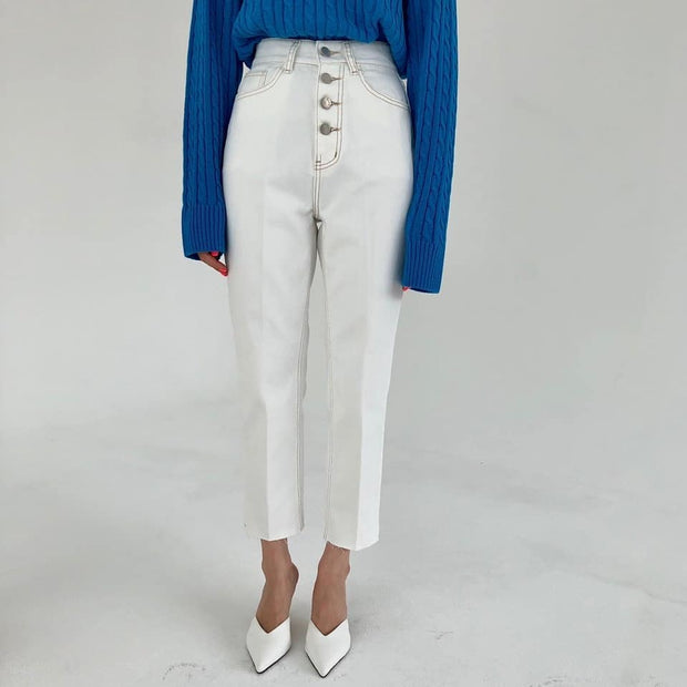Four-button white Jeans