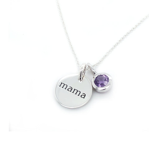 Sterling Silver Circle Mama Necklace