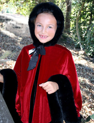 Hooded Girls Velvet Cape in Holiday Red with Black Faux Fur Trim