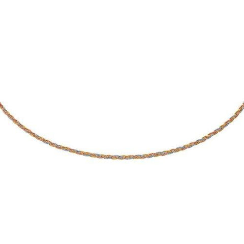 14k Tri-Tone Gold Plaited Motif Multi Strand Mirror Spring Necklace, size 17''