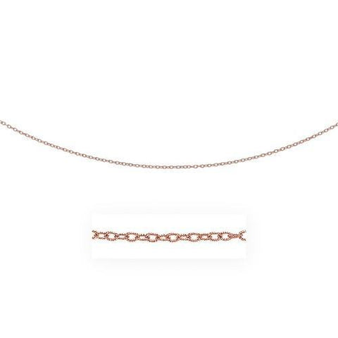 2.5mm 14k Rose Gold Pendant Chain with Textured Links, size 20''