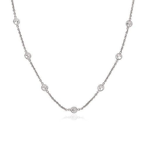 14k White Gold CZ By the Yard Long Links, size 18''