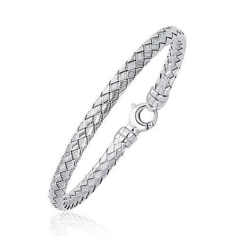 Fancy Weave Bangle in 14k White Gold (5.0mm), size 7.25''