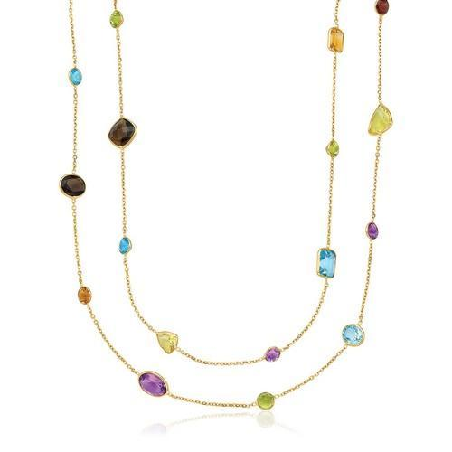 14k Yellow Gold Double Layer Multi Gem Necklace, size 30''