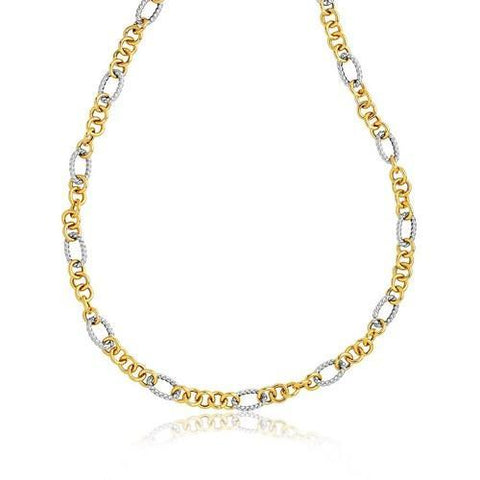 14k Two-Tone Round and Cable Style Link Necklace, size 18''