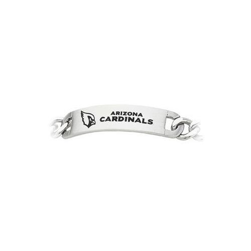 Stainless Steel Arizona Cardinals Team Name and Logo ID Bracelet - 8 Inch