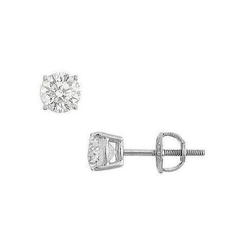14K White Gold : Round Cubic Zirconia Stud Earrings – 1.00 CT. TGW.