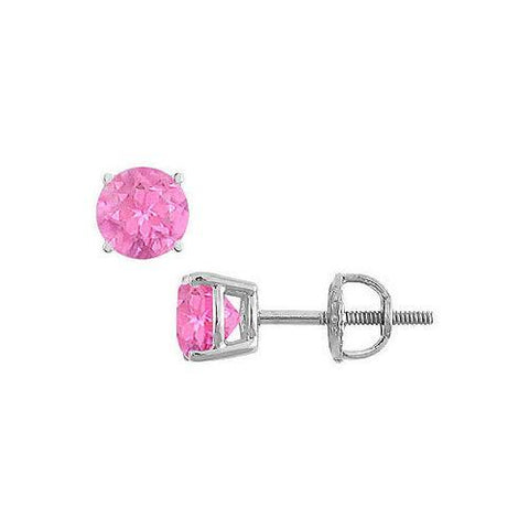 14K White Gold : Prong Set Pink Sapphire Stud Earrings 1.00 CT TGW