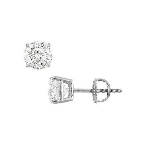 14K White Gold : Round Cubic Zirconia Stud Earrings – 3.00 CT. TGW.