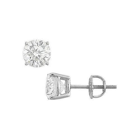 14K White Gold : Round Cubic Zirconia Stud Earrings – 4.00 CT. TGW.