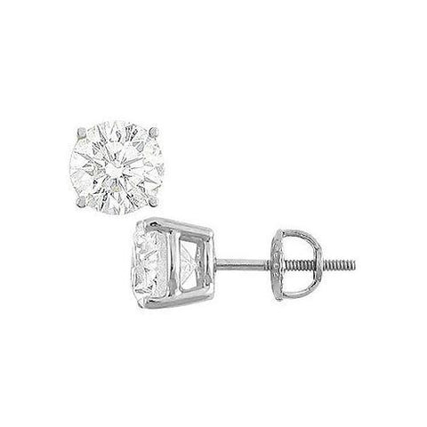 14K White Gold : Round Cubic Zirconia Stud Earrings – 8.00 CT. TGW.