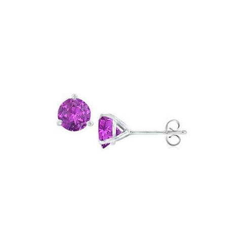 14K White Gold Martini Style Amethyst Stud Earrings with 1.00 CT TGW