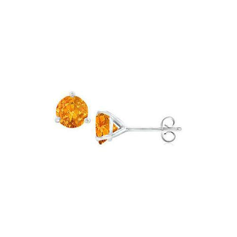 14K White Gold Martini Style Citrine Stud Earrings with 1.00 CT TGW