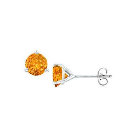 14K White Gold Martini Style Citrine Stud Earrings with 2.00 CT TGW
