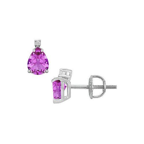 Diamond and Amethyst Stud Earrings : 14K White Gold - 2.04 CT TGW