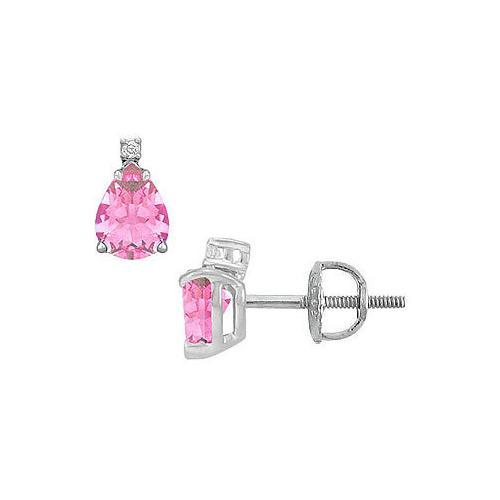 Diamond and Pink Topaz Stud Earrings : 14K White Gold - 2.04 CT TGW