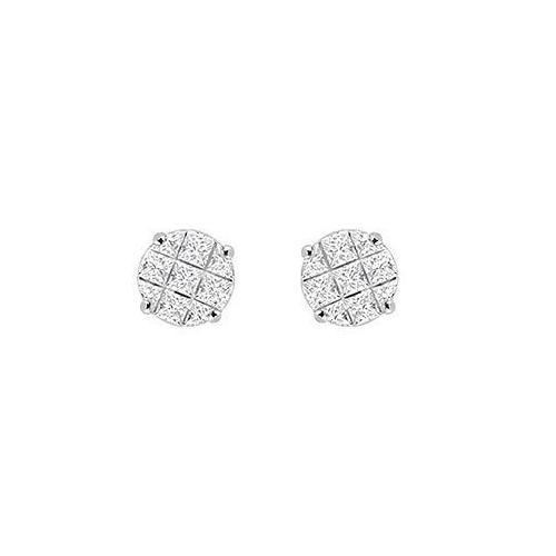 Cubic Zirconia 9 Cut Design Earrings : .925 Sterling Silver - 7 MM