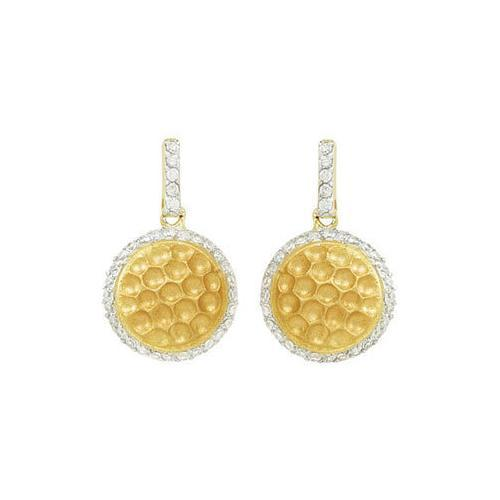 Cubic Zirconia and  Sterling Silver 14K Yellow Gold Plated Push Back Earrings