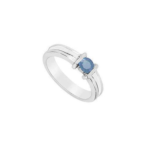 Channel-set Sapphire Ring : 14K White Gold - 0.25 CT TGW
