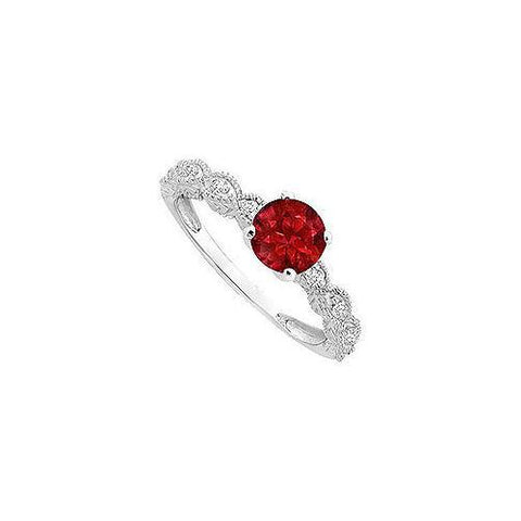 Ruby and Diamond Engagement Ring : 14K White Gold - 0.40 CT TGW
