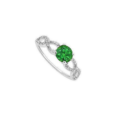 Emerald and Diamond Engagement Ring : 14K White Gold - 0.50 CT TGW