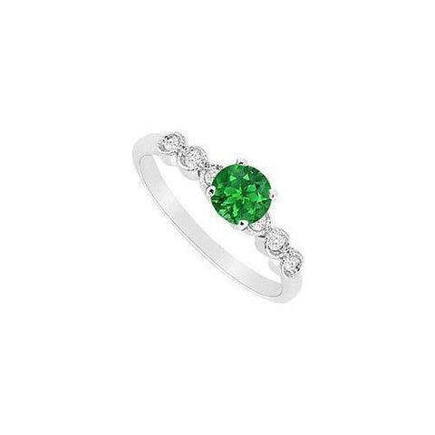 Emerald and Diamond Engagement Ring : 14K White Gold - 0.60 CT TGW