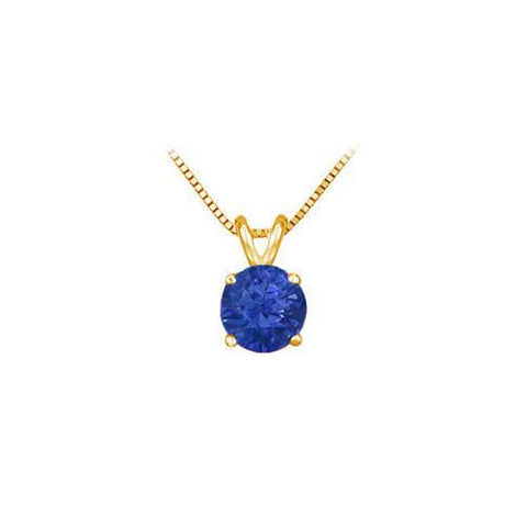 14K Yellow Gold Prong Set Natural Sapphire Solitaire Pendant 0.50 CT TGW