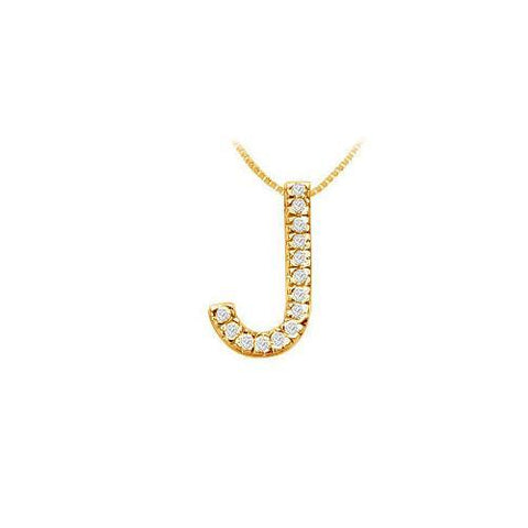 Classic J Initial Diamond Pendant : 14K Yellow Gold - 0.25 CT Diamonds