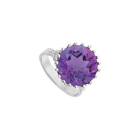 Amethyst Fashion Mounting Solitaire Ring : 14K White Gold - 1.00 CT TGW