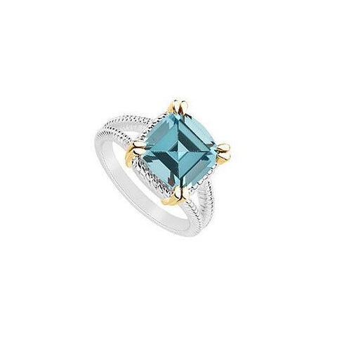 Aquamarine Ring : Two Tone (Sterling Silver & 14K Yellow Gold) - 6.00 CT TGW