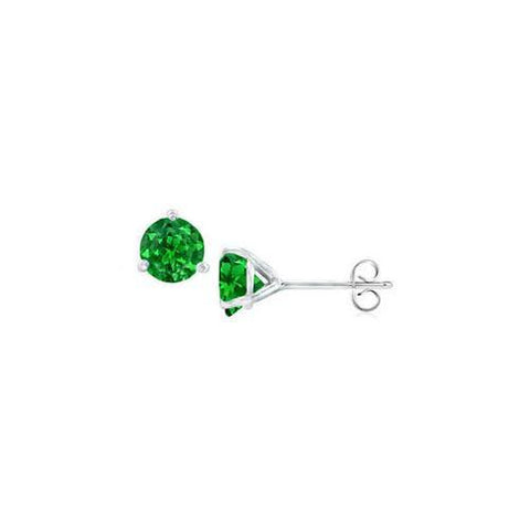 14K White Gold Martini Style Frosted Emerald Stud Earrings with 0.50 CT TGW
