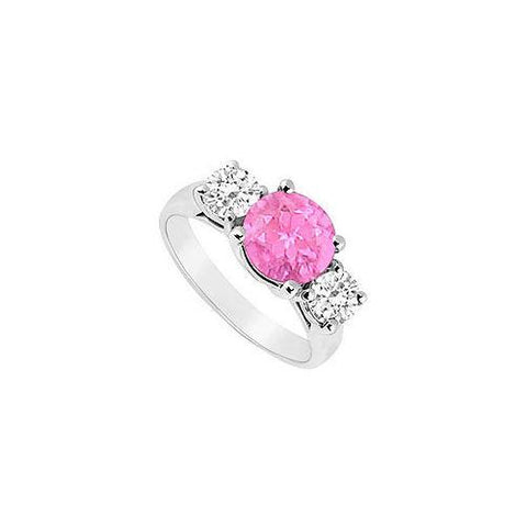 Created Pink Sapphire and Cubic Zirconia Three Stone Ring 10K White Gold 2.50 CT TGW