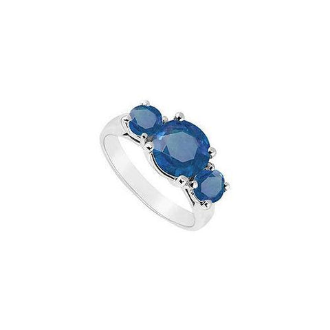 10K White Gold Diffuse Sapphire Three Stone Ring 2.50 CT TGW