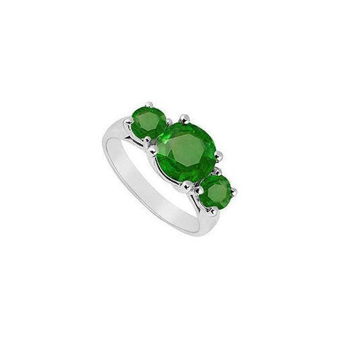 Frosted Emerald Three Stone Ring 10K White Gold 3.00 CT TGW