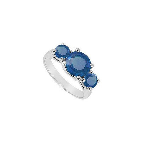 Diffuse Sapphire Three Stone Ring 10K White Gold 3.00 CT TGW