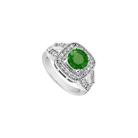 10K White Gold Frosted Emerald and Cubic Zirconia Engagement Ring 1.50 CT TGW