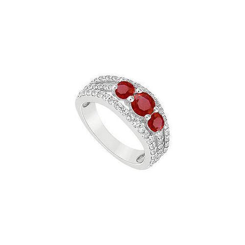 10K White Gold GF Bangkok Ruby and Cubic Zirconia Engagement Ring 2.25 CT TGW