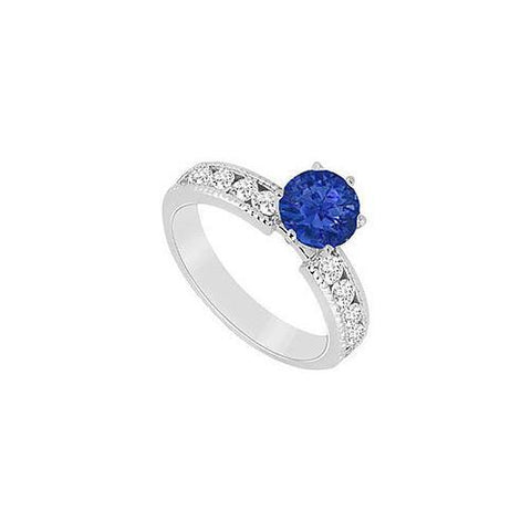 Sapphire and Diamond Engagement Ring in 14K White Gold 1.25 CT TGW