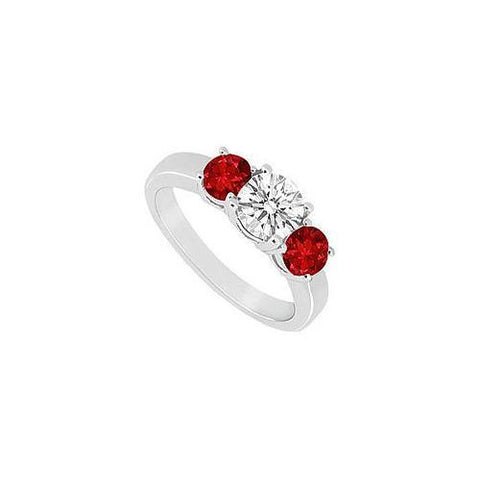 10K White Gold GF Bangkok Ruby and Cubic Zirconia Three Stone Ring 1.00 CT TGW