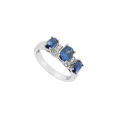 Diffuse Sapphire and Cubic Zirconia Ring : 10K White Gold - 2.15 CT TGW