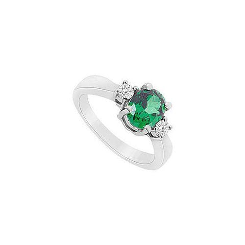 Frosted Emerald and Cubic Zirconia Ring : 10K White Gold - 1.10 CT TGW