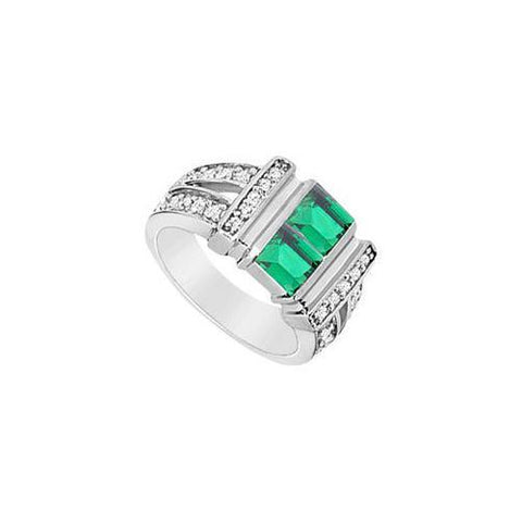 Frosted Emerald and Cubic Zirconia Ring : 10K White Gold - 1.25 CT TGW
