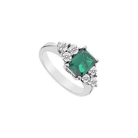 Frosted Emerald and Cubic Zirconia Ring : 10K White Gold - 3.25 CT TGW