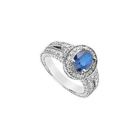 Diffuse Sapphire and Cubic Zirconia Ring : 10K White Gold - 3.75 CT TGW