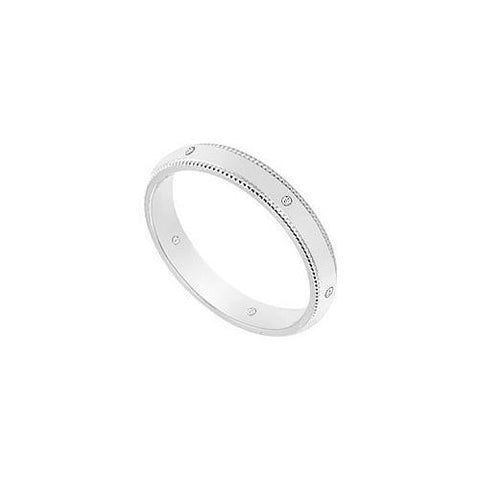 3MM Comfort Fit Milgrain Wedding Band with Diamonds : 14K White Gold - 0.05 CT TDW