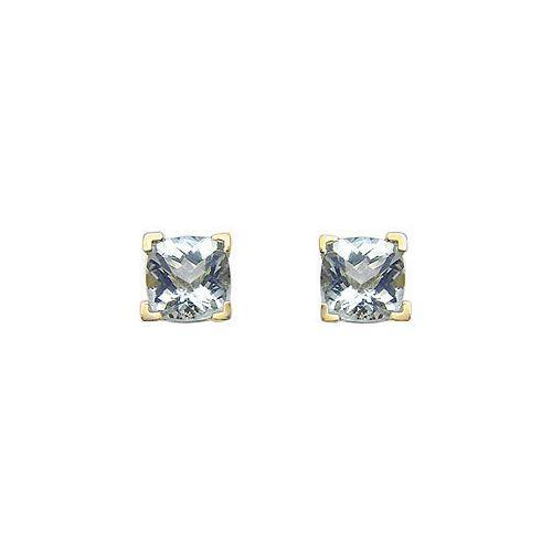 Aquamarine Earrings : 14K Yellow Gold - 1.25 CT TGW